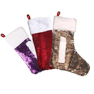 Fashion Bling Bling Sequins Christmas Stocking Candy Bag Christmas 30*43cm Double-sided Sequin Gift Bag OWC2384
