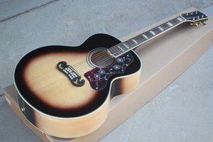 Factory Custom 43 inch Acoustic Guitar with White Binding Body and Neck,Rosewood Fretboard,Can be Customized