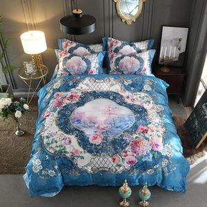 Luxury 3D Bedding Set Queen King size Bed set Silk Satin Cotton Duvet cover Fitted sheet Bed sheet linge de lit ropa de cama