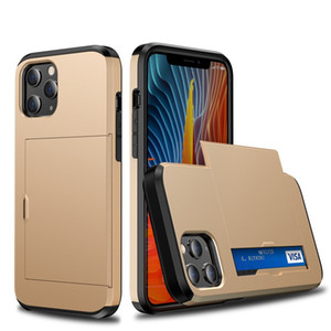 cassa del telefono ibrido per iPhone copertura armatura back 12 Pro max con supporto scheda TPU PC 2 in 1 cassa del respingente per iPhone12