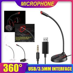 Micrófono de la computadora 360 ° ajustar libremente Discurso Micrófono juego de charla de 3,5 mm USB Plug PC de escritorio del ordenador portátil