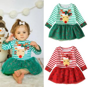 New Year Christmas Clothing Children Long Sleeve Halloween Tutu Dresses Striped Elk Baby Girls One Piece Dress Kids Party Clothes Hot E92701