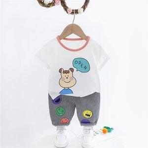 HYLKIDHUOSE Baby Kleidung Sets 2020 Summer Infant kurze Hülsen-Karikatur-T-Shirt, Shorts Kinder Kinderferien Kleidung