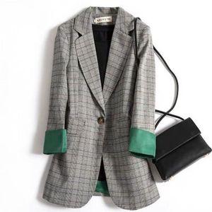 Fashion Autumn Women Plaid Blazers and Jackets Work Office Lady Suit Slim Business Female Blazer Coat