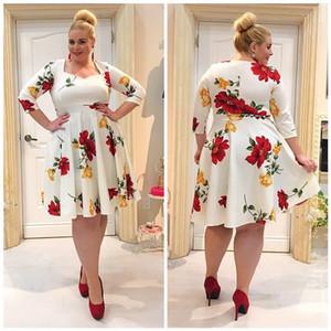 Plus Size Mulheres Designer Pattern Vestidos Flower 3/4 Elasticidade Womens Roupa Moda Outono Casual vestido de férias Ladies