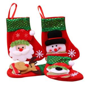 Bonito que pendura Mini Natal Meias Saco do presente dos doces do Natal Stocking para árvore de Natal Decor Pendant