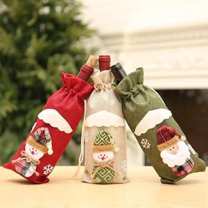 US-Stock-kreative Karikatur-Weihnachtsdekorationen für Haus Burlap Stickerei Engel Old Man Weinflasche Bezug-Set Geschenk-Beutel Weihnachts Sack FY7170
