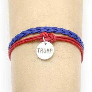 4 nouveaux styles Trump Bijoux Fashion Bracelet en cuir rouge bleu Bracelet Bracelets Bracelet en acier inoxydable Punk