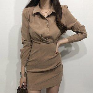 Korean Fest Turn-down Collar-Kleid-Frauen 2020 neue weibliche Kleidung Knopf Einreiher Minikleider Fashion Lady vestidos