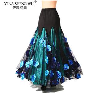 Luxuoso Adulto Bellydance traje saia longa Ballroom Dancing Gypsy Costume Saia Belly Belly Dance Waltz Oriental