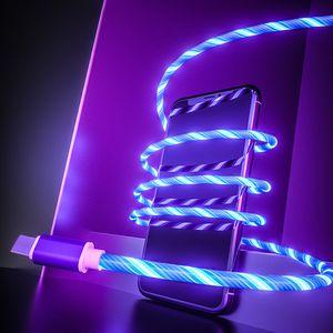 Glühende Kabel Kabel für Mobiltelefone LED-Licht Mikro-USB-Typ-C-Ladegerät Ladedraht Ladekabel