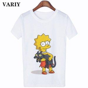kadınlar Simpsonlar grafik t shirt Casual Komik t gömlek bağbozumu Tee karikatür grunge kadın giysileri harajuku kadın gömlek Tops