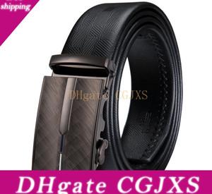 Hi -Tie Fashion Men &#039 ;S Business Waist Belts Automatic Buckle Genuine Leather Belts For Men 110 -160cm Ceinture Homme Dk -0031