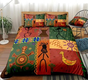 3pcs African Duvet Cover Set African Style Dance Bedding Animal Quilt Cover Colorful Home Textiles Bohemian Kids Queen Dropship
