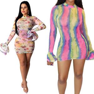 Tie Dye Sheer Mesh Dress Club delle donne da See Through Ruffle manica lunga Mini Vestito aderente