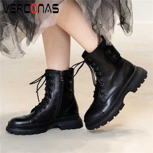 VERCONAS Automne Hiver Femmes Bottines Rivets Croix-Tied Chaussures Femme Mode Plate-formes en cuir véritable Casual Zip Basic Bottes