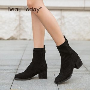 BeauToday Elastic Ankle Sock Boots Brand New Square Toe Stretch Fabric Autumn Winter High Heel Lady Shoes Handmade 03356