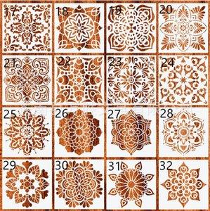 New Home 32 styles 15 * 15cm Mandala Pochoirs bricolage dessin décoration modèle découpé au laser mur Stencil peinture pour bois Carrelage Tissu
