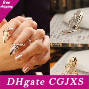 Mode personnalisé Dragonfly Sparkling strass fleur clou Bague clou Bague en or d'argent doigt ongles Anneaux 2 couleurs Drop Shipping