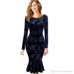 LCW 새로운 패션 여자 벨벳 빈티지 우아한 꽃 공주 핀업 흔들기 비즈니스 파티 Bodycon 장착 드레스