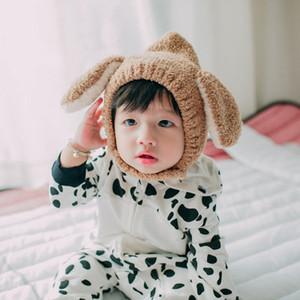 bebek kız erkek moda peluş şapka çocuklar düz renk sevimli tavşan kulaklar ılık şapka bebek yeni doğan şapkalar çocuklar kış sıcak aşınma Kulak Muff