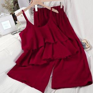 ZCWXM 2020 Beach Solido Donne Due Pezzi Outfits increspature breve Camis elastico vita alta lunga fino alle caviglie chiffon Pants Set