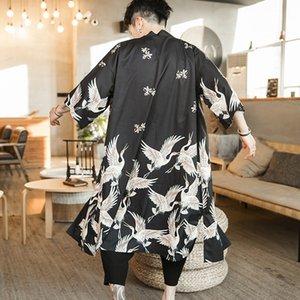 Siem9 2020 été nouveau style chinois long manteau imprimé kimono gilet style ethnique grue manteau pour la nation Cape Coat hommes de nationalité