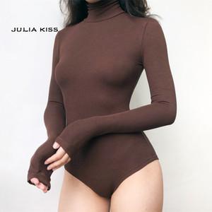 Women High Neck Rib Bodysuit with Long Sleeve CX200810