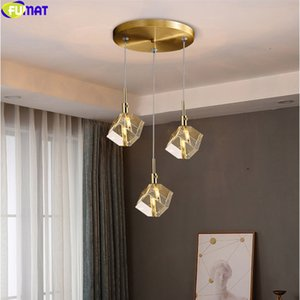 FUMAT Ice Square Crystal K9 Pendant Lamps Luxury Hanging Light Fixture For Dinning Room Bar Multi LED Heads Nordic Mondern Style