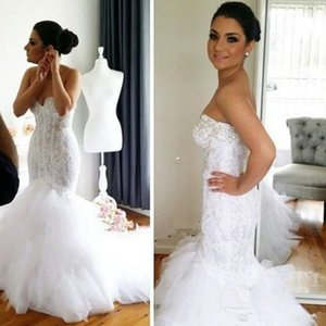 2021 New Lace Mermaid Wedding Dresses Crystals Sweetheart Backless Tiered Tulle Sexy Formal Bridal Gowns Long Vintage Bride Wear