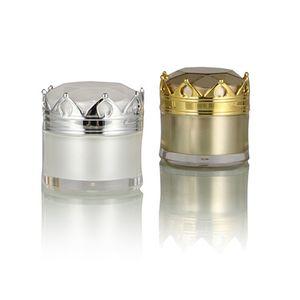 Jar 5g / 10g / 15g Crown Esvaziar Cosmetic Eye Creme Lip óleo acrílico garrafa reutilizável Loção Sample Pack Containers