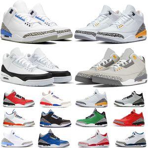 Nike Air Jordan Retro 3 Chaussures pas cher Mens Basketball Jumpman 3 3s UNC Formateurs Varsity Unite Royale SE Feu Satin rougeJordanRetro Sport Sneakers Taille 36-47