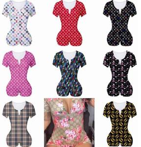 여성 점프 슈트 잠옷 Playsuit 운동 버튼 스키니 핫 짧은 소매 V 넥 짧은 바디 수트 여성 플러스 사이즈 장난 꾸러기의 D1621 인쇄하기