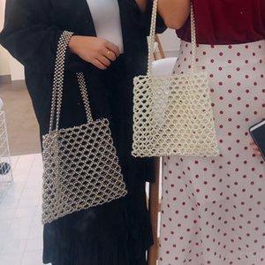 2020 trend women's beaded handbag elegant evening bag retro designer quality handbag hand-woven pearl bag
