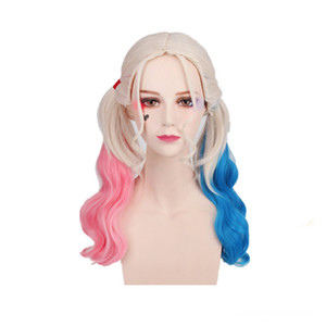 Costumes Girl Suicide Squad Harley Quinn Wigs Cosplay Peluca Curly Synthetic Ponytail Wig Heat Resistant Hair Halloween Wigs Costumes Pink