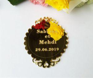 Custom Name Wedding Party Favor Decor Personalized Name Wedding Table Sign Acrylic Mirror Sticker DIY Party Decor