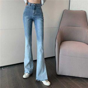 Cintura alta largas Jeans pernas separadas Jeans Mulheres Gradient Blue Jeans Vintage Calças Streetwear perna reta Calças para Slim meninas