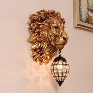 Europeu Retro Leão de Ouro Lâmpada de parede de cristal do vintage arandela luminárias Sala Quarto Stair Bar Lâmpadas de parede interior AC