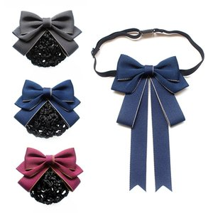 Мода Ткань для взрослого Bow Tie Женских Профессионального воротника рубашки цветок брошь волос Pin Боутите отель Net Bag Женщина Аксессуары