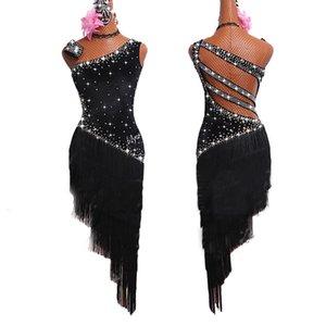 Latin Dance Dresses For Women Black Fringe Shiny Rhinestone Backless Tango Salsa Ballroom Compete Latin Dance Costumes BL1279