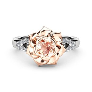 New luxurious diamond-inlaid through-flower engagement zircon superflash ring
