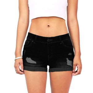 Düşük Waisted Jeans Kadın Yıkanmış Ripped Delik Kısa Kısa Kot Kadın İnce Kısa Denim Pantolon Vaqueros Mujer Ripped