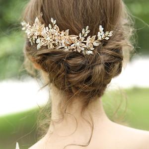 NPASON Luxuxgold Kristall Hochzeit Haarschmuck Frauen Blume Strass elegante Haarkämme Brautmode Accessoires Geschenke