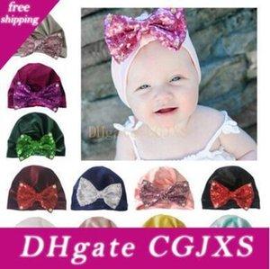 11 цветов блесток лук Pearl нейлон Hat Winter Warm обжимной Новорожденные мальчики девочки шапки Шерстяные шапки