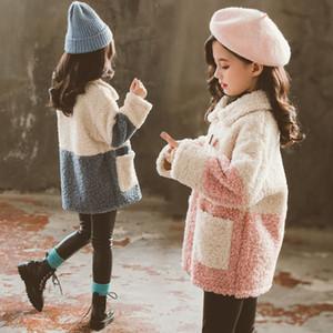2020 Kızlar Yün Palto Çocuk Giyim Sonbahar Kış Patchwork Coats Kalınlaşmak WINDBREAKER Kız Genç Moda Kabanlar