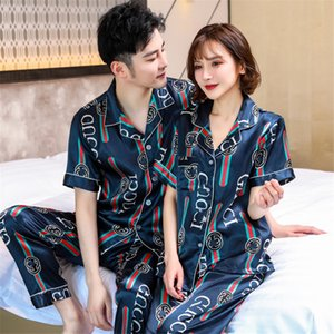 Vislivin Pyjamas Women Robe Silk Pajamas Sets Full Sleeve Flower Printed Sleepwear 2 1Pcss Silk Homewear Men Turn-Down Collar Couple Pija#880