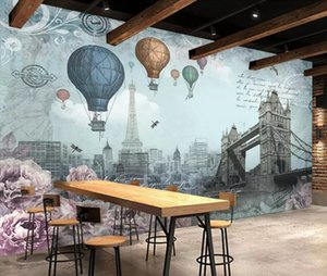 Bacal Modern fashion high decorative painting wallpaper 3D retro British wind hot air balloon background wall papers home decor
