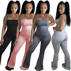 Sexy Femmes Romper Summer Sling Sling Jumpsuits Sans Manches Skinny Bodysuits Mode Bell Pantalon Club Streetwear Vêtements Plus Taille