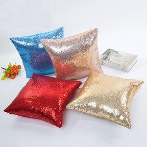 10 Colors Glitter Sequins Pillow Case 15.7*15.7 Inch Solid Color Cushion Cover Home Car Decor Waist Cushion Cover Pillowcase TQQ BH2219