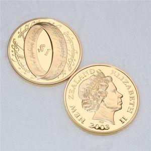Gilded Der Herr der Ringe-Münze 2003 New Zealand Post-Münzen-Art Collection Film Memorabilia Geschenke Freies Verschiffen